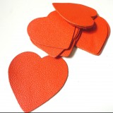Coeur cuir orange
