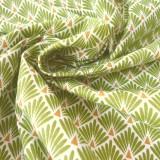 Tissu japonais Paon vert