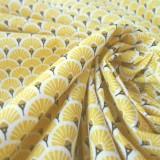 Tissu japonais Eventails jaune