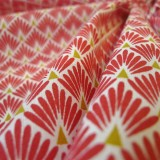 Tissu japonais Paon rouge