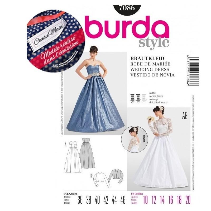 Patron robe de mariee cousu main burda 7086 patron de for Patron de robe de mariée